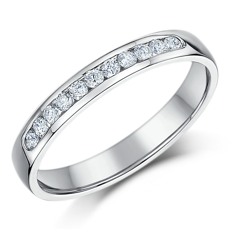3mm 9ct White Gold Court Shaped Half Eternity Ring - Eternity Rings at Elma UK Jewellery