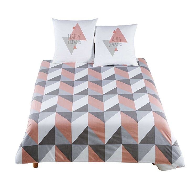 Scandi style bedding | URBAN SOFT graphic multicoloured bed linen 240 x 220 cm | Maisons du Monde