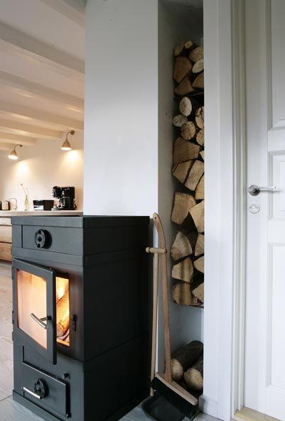 Stacked Logs For The Modern Wood Stove Oh Love It Could Be A Recessed