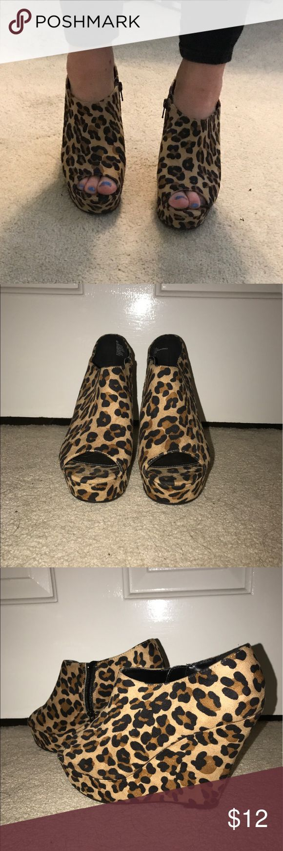 LEOPARD PRINT WEDGES Leopard print wedges. Size 9. Only worn once. No visible wear to them. Peep toe and low on the ankle. Zipper in the back for easy put on. Heels are about 3.5-4 inches tall. Mossimo Supply Co Shoes Wedges