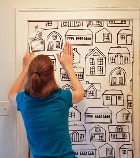 make own wallpaper paste. hang fabric