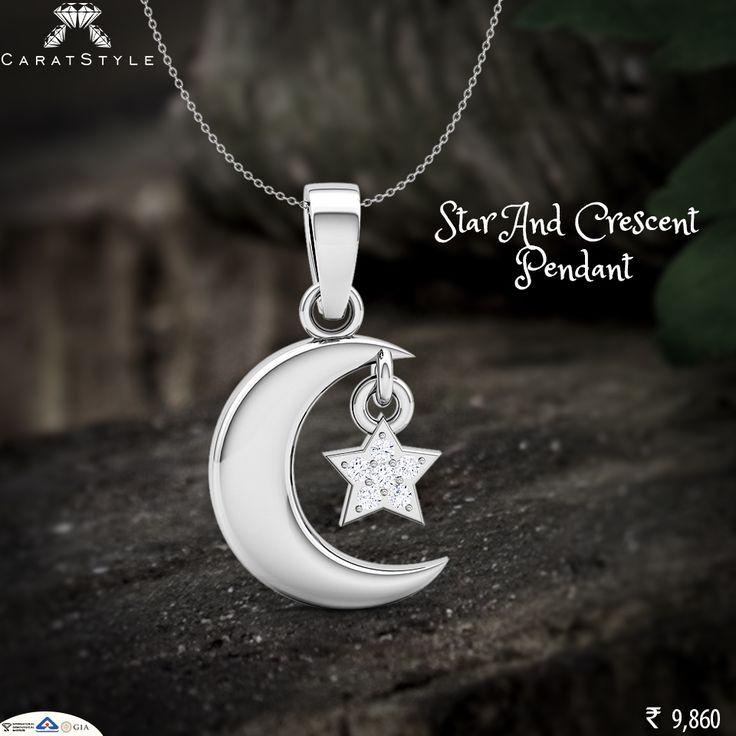 Shop the Crescent moon and star pendant.   #diamond #pendant #diamondpendant…