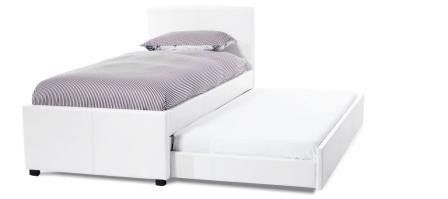 #Carra 3ft Single White Faux Leather Guest #Bed