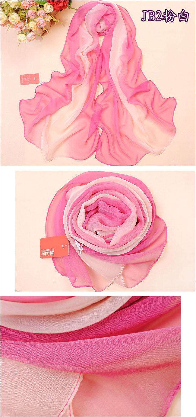 Retail!! 2013 New spring and summer female long design chiffon Scarf women color block silk wraps free shipping-inScarves from Apparel & Acc...