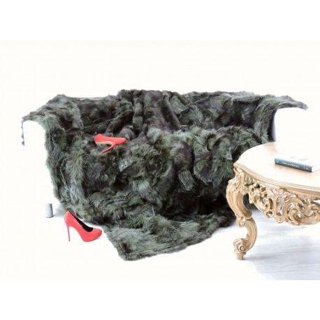 Real opossum fur throw blanket