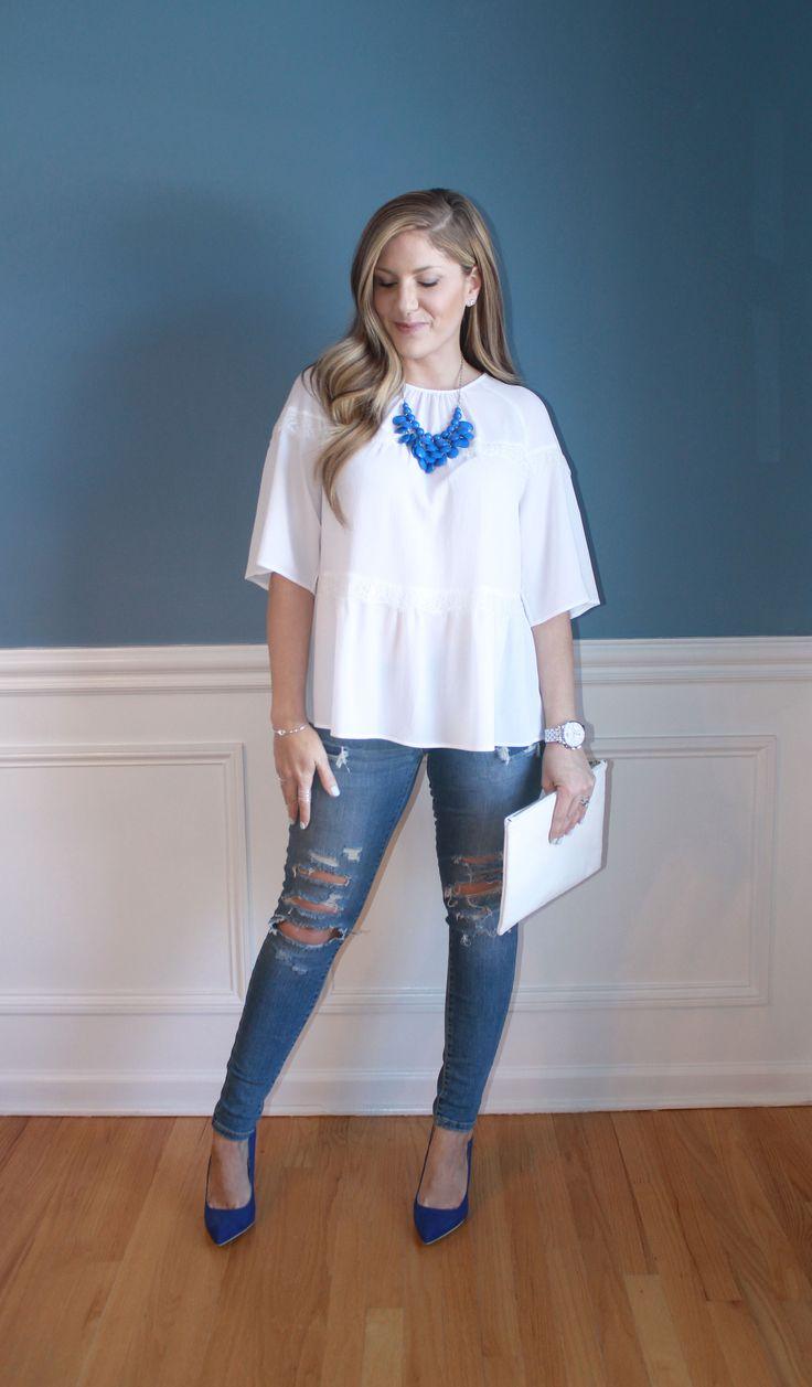 blue pumps, white lace top, distressed denim, spring fashion