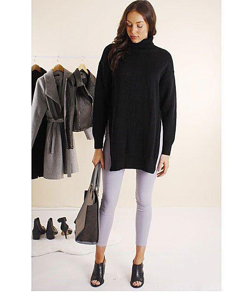 Tash Roll Neck Tunic Long Knit – black $ 69.95 relax knit  •  skinnies •  boots | f r e e    p o s t