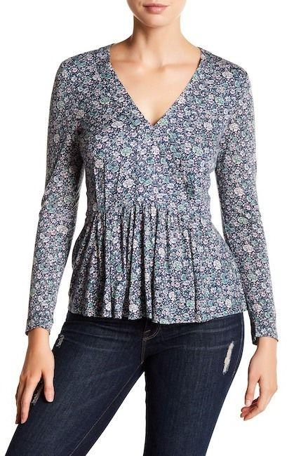 Rebecca Taylor Long Sleeve Lavish Floral V-Neck Top