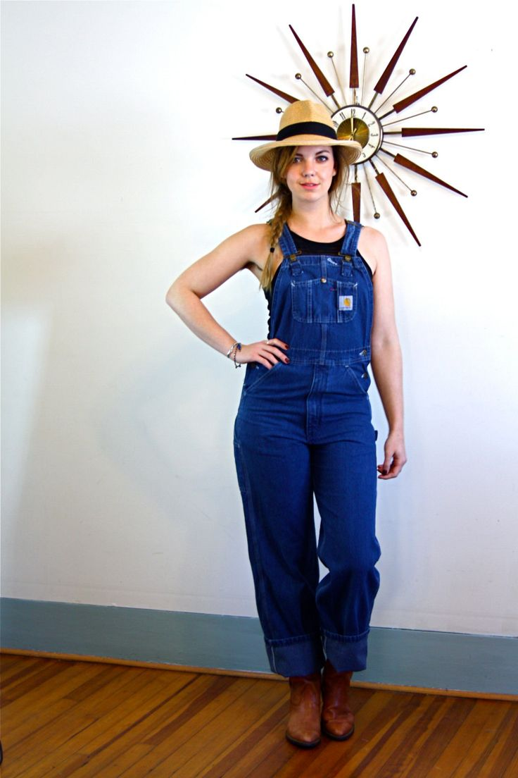 Vintage 70s Carhartt Overalls Dark Blue Denim Long Dungarees Cargo Pockets Brass Button Super High Waisted Festival Farmer Jean Coveralls by PosiesForLuluVintage on Etsy