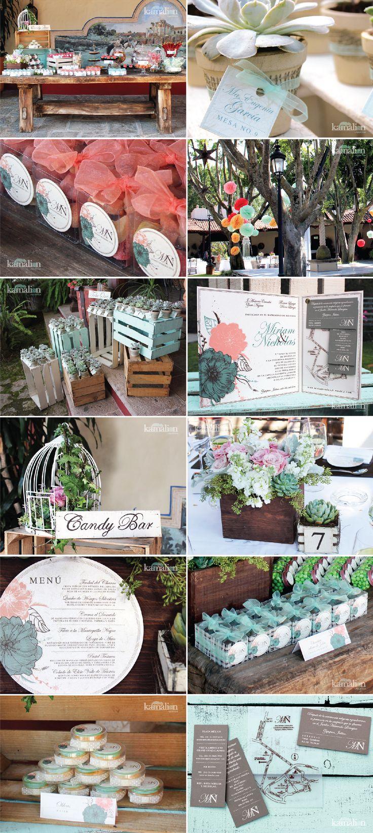 www.kamalion.com.mx - Boda / Wedding / Vintage / Rustic / Menta  Coral / Mint  Coral