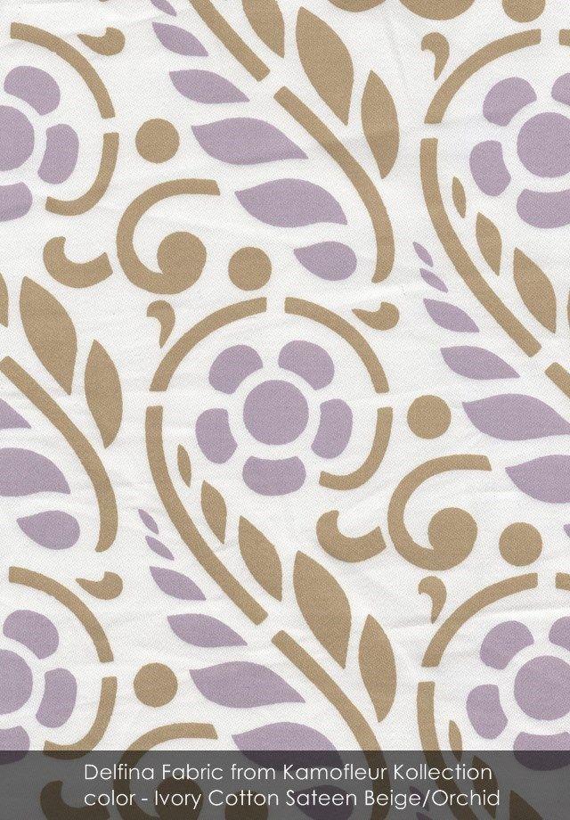 Delfina fabric from Kamofleur Kollection in Ivory Cotton Sateen Beige/Orchid