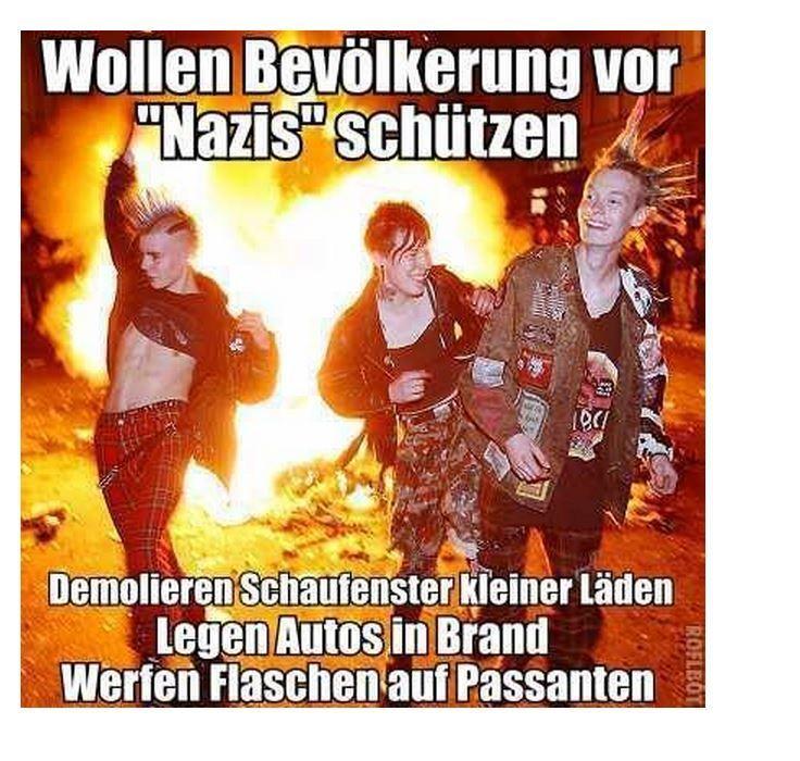 """#STAATSFEIND #DEUTSCHLANDHASSER #ISLAMVERSTEHER Antifa will Bevölkerung vor """"Nazis"""" schützen, aber demoliert Schaufenster, legt Autos in Brand und wirft Flaschen auf Passanten."""