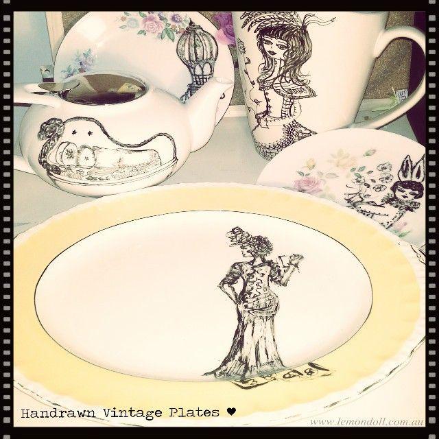 A little example of vintage items I have handrawn on.  #lemondollillustrations #vintageplateart #plateart #plateilllustrations #ceramicart #indie_made_aus #illustrations #ceramicpen #vintageart