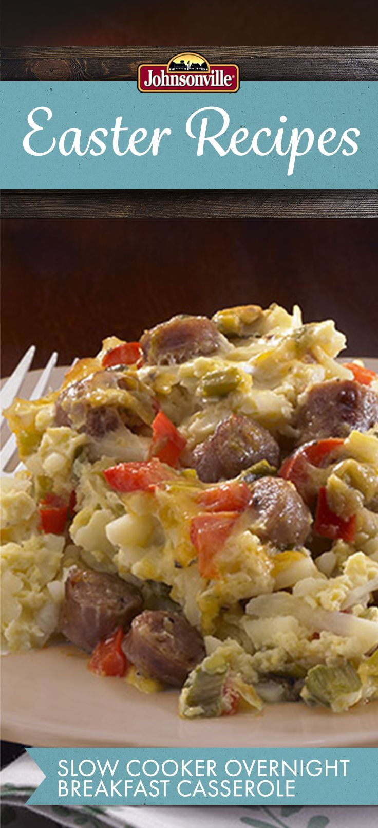 Wake up to a hot Breakfast! Johnsonville Vermont, Maple, Breakfast Sausage Links, Peppers, Hash Browns, Cheddar Cheese, and Eggs slow cook while you sleep!