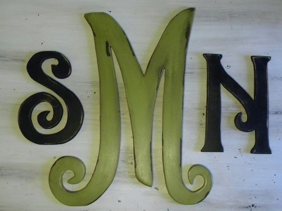 Custom monogram letters. You choose the font and color.
