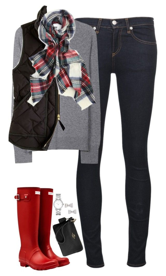 """""""Black vest, tartan scarf & red Hunter boots"""" by steffiestaffie ❤ liked on Polyvore featuring rag & bone/JEAN, Equipment, J.Crew, Hunter, Marc by Marc Jacobs and Coach"""