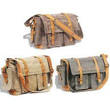 Herren Canvas Echtledertasche Vintage Schultertasche Messenger Bag Umhängetasche