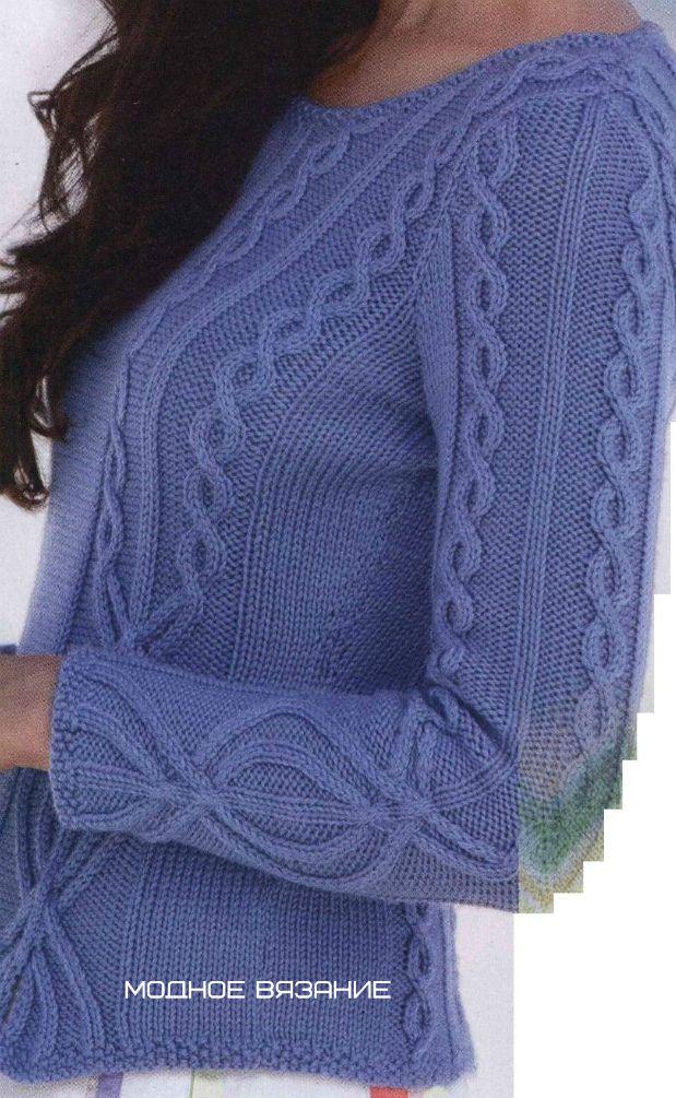 Пуловер спицами с вставками из рельефной косы - Модное вязание