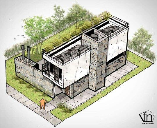 Fer Neyra's sketch for Casa Valle Escondido in Córdoba, Argentina by Estudio A3