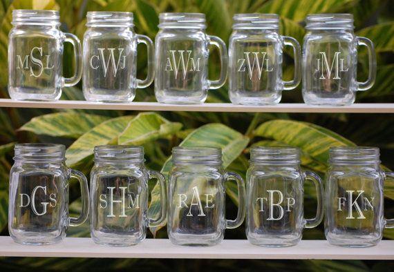 Mason Jar Glasses, Set of 10 Personalized Groomsmen Gifts, Monogrammed Mugs, Wedding Party Gifts, Glassware on Etsy, $105.00