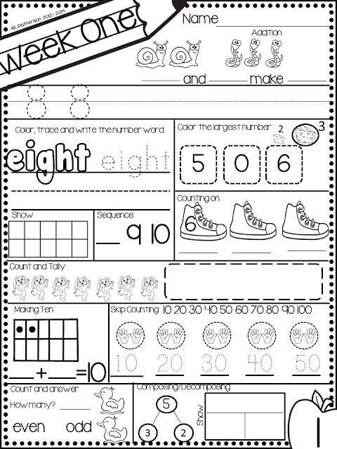 Pocket Full of Kinders!: November Kindergarten Math Morning Work.