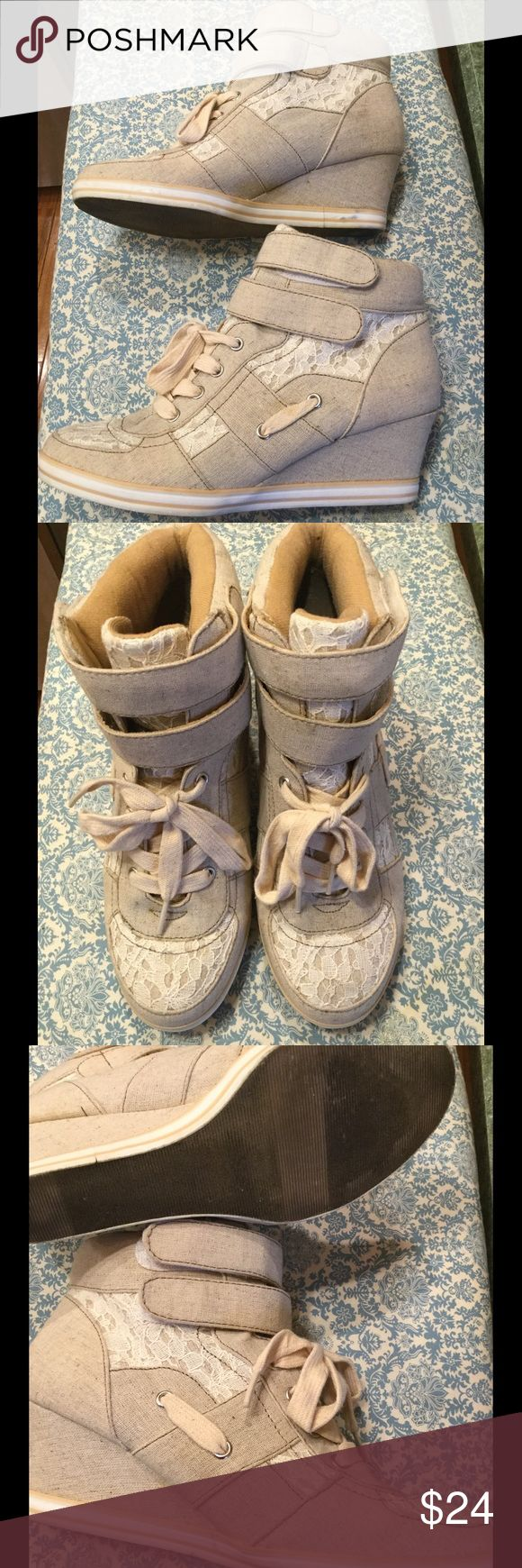 Canvas Wedge Booties with Lace In excellent condition, hardly any signs of any wear.  Comfortable wedge sneaker type shoe.  Canvas and lace embellished. jellypop Shoes Ankle Boots & Booties