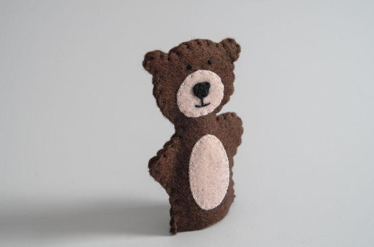 Teddy bear - teddy bear handmade, bear, bear nursery, toy, toy animals, finger puppet - by KinkinPuppets on Etsy