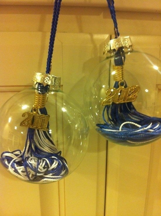 Graduation tassels: turn them in to Christmas ornaments.This is a genius idea! We will be doing this with our M.S. degrees asap