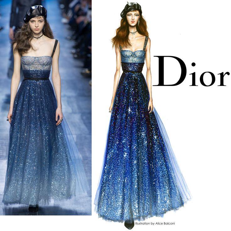 "DIOR+F/W+2017:+""starry+night""+blue+sequins+dress"