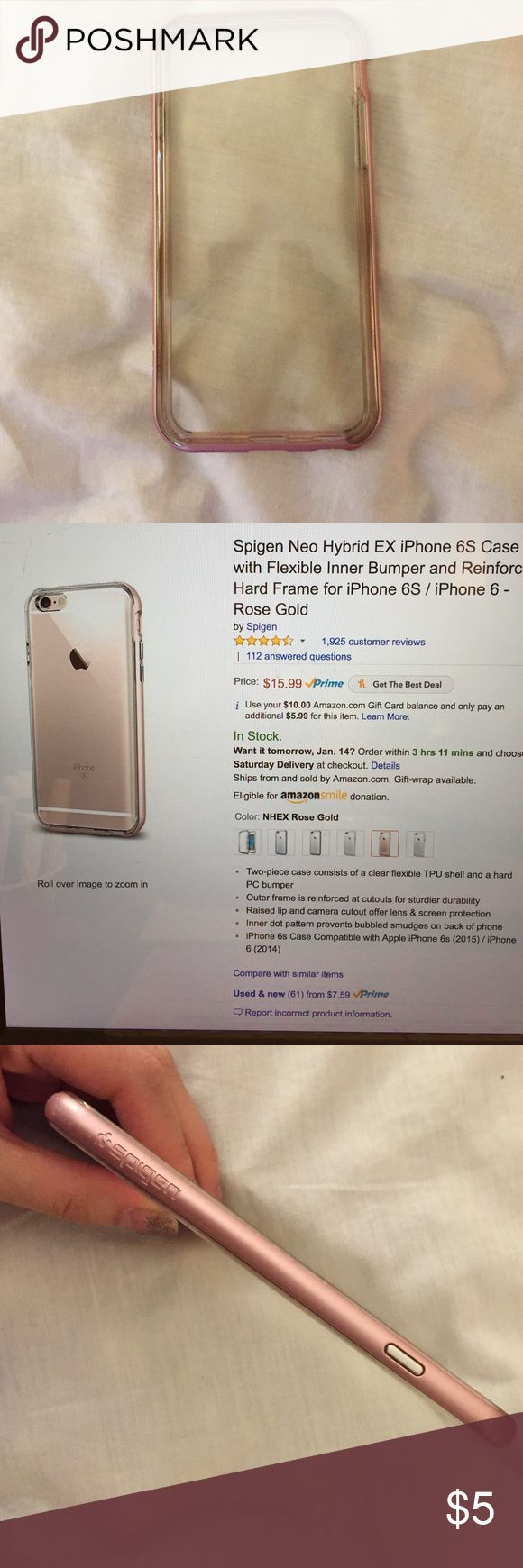 Spigen iPhone 6/6s rose gold case. Spigen iPhone 6/6s rose gold case. iPhone not included. Great protective case. Not bulky and shows the body of the phone nicely. Will be washed before shipping. 10% off all 2+ bundles. Spigen Accessories Phone Cases