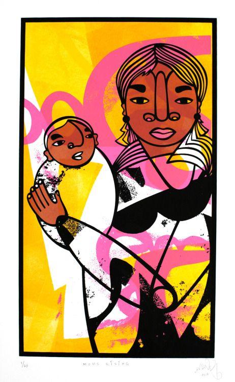 Moms Rising Monotype & Screenprint, 18 x 12 in. Favianna Rodriguez, 2014