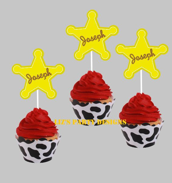 Woody toy story badge cupcake toppers by LizsPartyDesigns on Etsy, $12.00