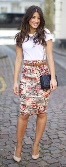 floral pencil skirt with plain white tshirt and statement necklace