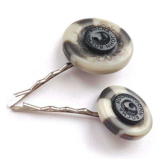 Cream & Brown Button Hair Slides - Button Jewellery - Fun Hair Accessories - Hair Slides on Etsy, £4.00