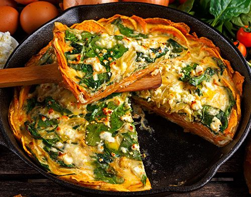 SWEET POTATO FRITTATA: Sweet potatoes and eggs rarely go together, but when you add nutritious sweet potatoes to a frittata, the dish is all at once rich and healthy