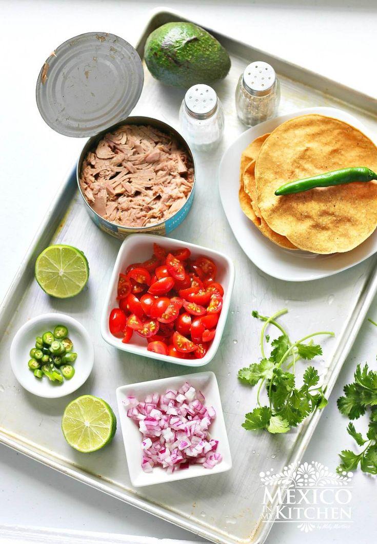 Ingredientes para preparar esta receta Tostadas de Ceviche de atún enlatado #sabores mexicanos #mexicoenmicocina #recetasmexicanas