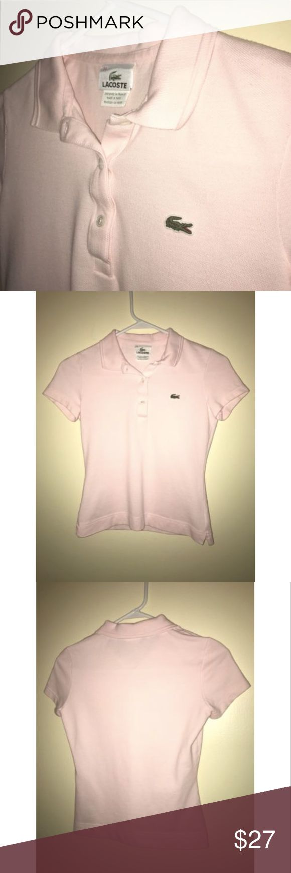"""Authentic Lacoste Pink Coral Polo Shirt Sz 34 XS PLEASE NOTE MEASUREMENTS BELOW TO ENSURE PROPER FIT  Size: 34 (XS) Color: Light Coral Tag Measurements- 34 Material: Cotton Blend Condition: Excellent Features: Short Sleeve, Soft Cotton, I HAVE PROVIDED A PHOTO OF THE INSIDE """"DEVANLAY"""" TAG CONFIRMING AUTHENTICITY. Flaws: None. Please refer to measurements below.  Measurements:  Chest - 15.5 inches  Shoulder - 13.5 inches  Sleeve - 5.5 inches  Length - 19.5 inches Lacoste Tops Tees - Short…"""