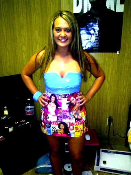 DIY cosmopolitan/duct tape dress for ABC [anything, but clothes] party