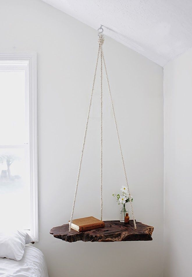 Hanging nightstand, wood slab and rope