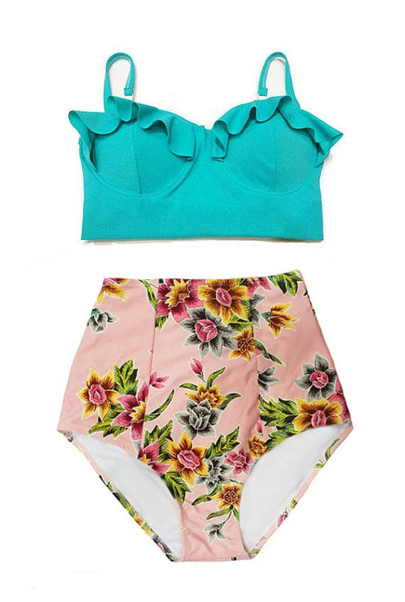 Costumi da bagno, costume da bagno, costume da bagno, Bikini, menta Teal Midkini Top e rosa oro Flora fondo Swimsuit nuotare bagnandosi tuta tute Beachwear S M