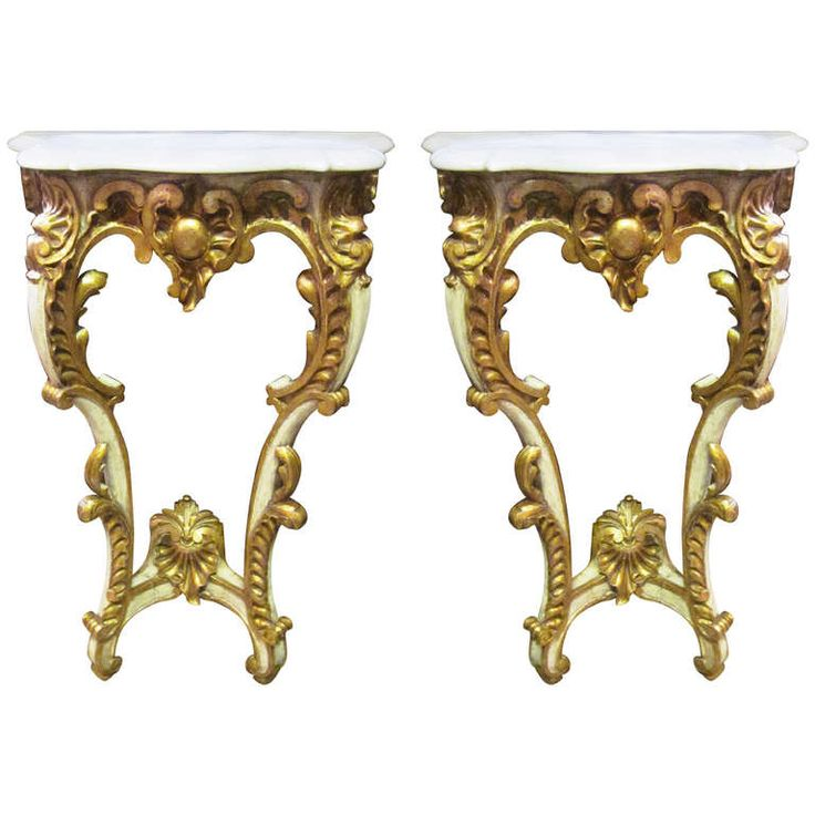 A Pair Of French Louis XV Style Painted And Parcel Gilt Consoles With Marble  Tops |