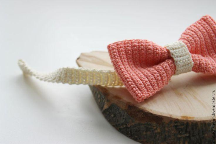Купить Галстук-бабочка - бледно-розовый, однотонный, галстук-бабочка, бабочка, галстук, Вязание крючком, crochet, knitting,  bow tie,  knitting accessories