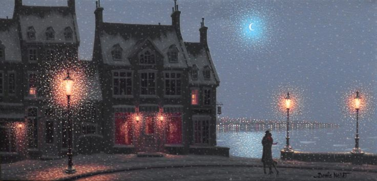 Canadian painter* Denis Nolet preferring moonlight to sunlight. He paints scenes saturated with the romance of the night. Denis Nolet was born in Quebec. For biographical notes -in english and italian- and other works by Nolet see Denis Nolet, 1964 | Night Tango in Paris*.