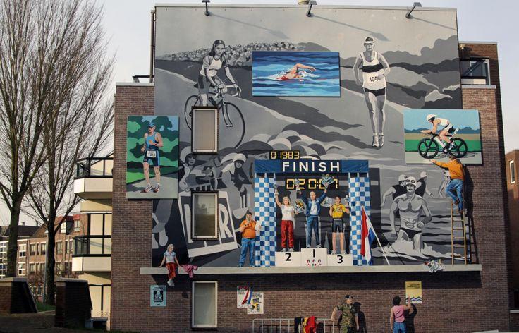 Muurschildering Triathlon, Sluis, Almere Haven