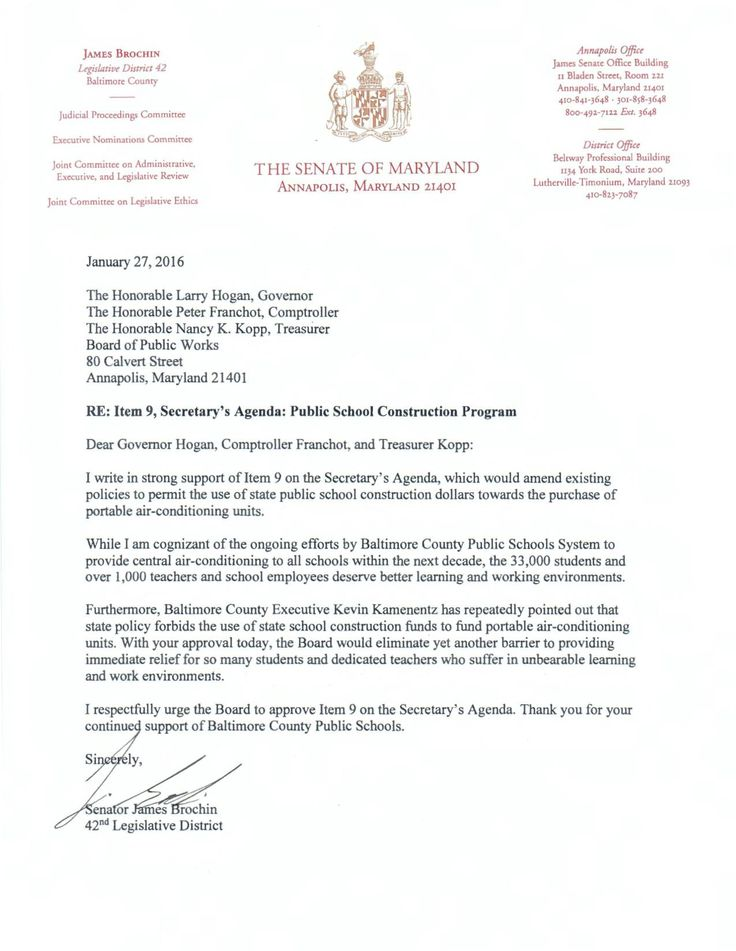 Letter Of Support From Baltimore County Councilwoman Vicki Almond