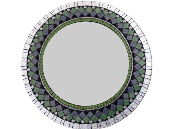 Decorative Wall Mirror Green Silver Black by GreenStreetMosaics