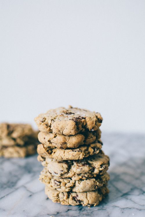 Dark Chocolate + Sea Salt Cookies via Thyme & Honey  Made using Lindt Dark Chocolate with a Touch of Sea Salt, based on Ovenly's recipe for a vegan salted choc chip cookies