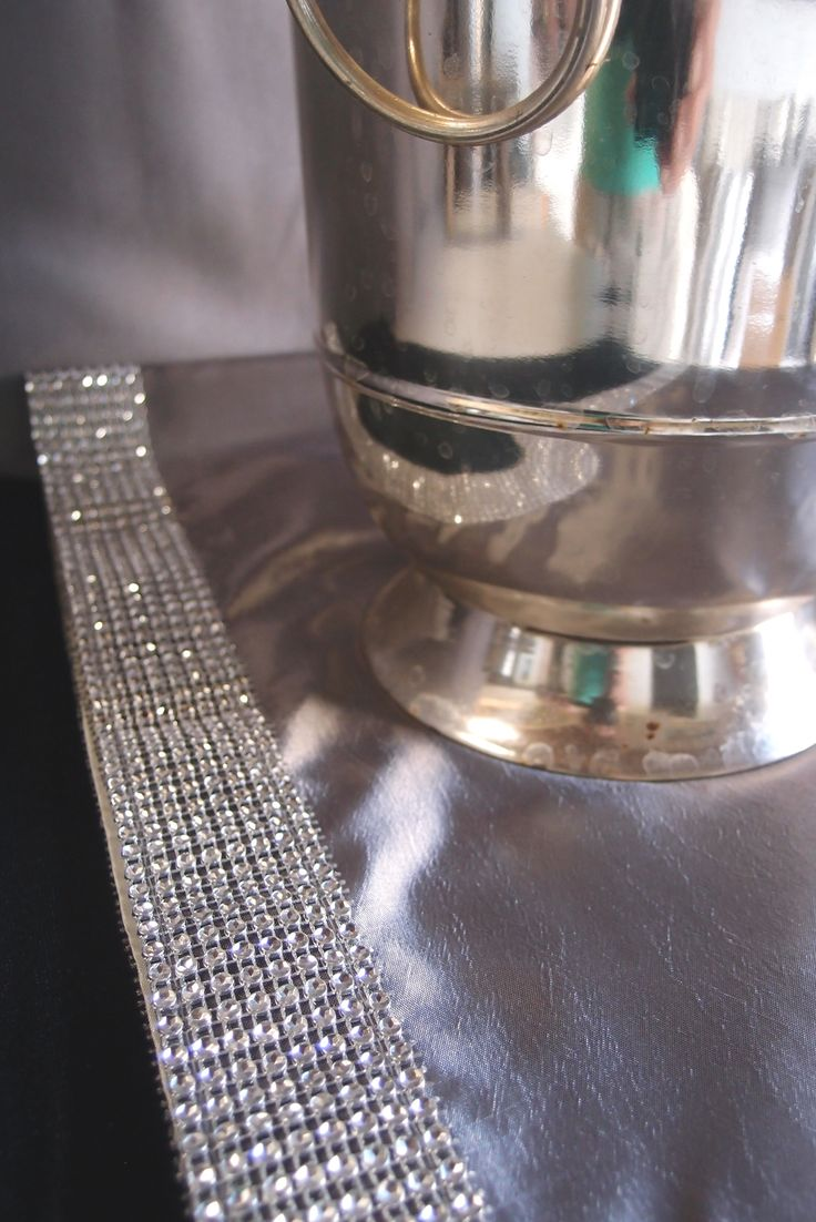 Silver Satin Table Runner with Diamond Mesh Trim 14x72in