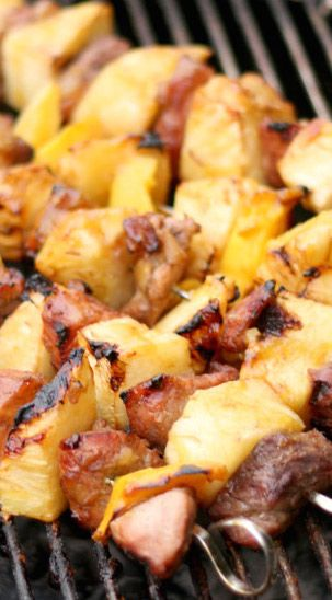 Grilled Pork Pineapple Kabobs with mango brown sugar glaze Recipe -add onion and bell peppers