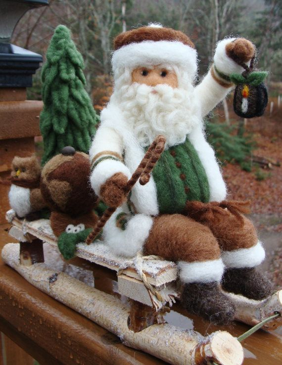 Needle Felted Christmas Sleigh and Santa and Reindeer
